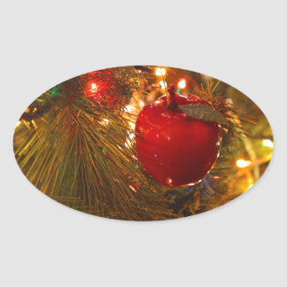 Christmas Tree Decoration Oval Sticker