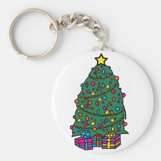 Christmas Tree Decorations Basic Round Button Key Ring