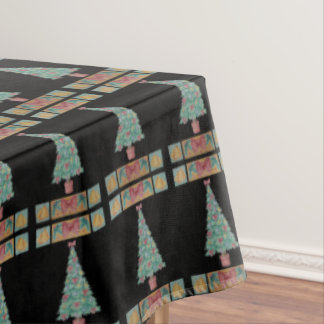 Christmas tree decorations red bow bells art black tablecloth