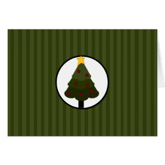 Christmas Tree Design on Green Stripes Note Card