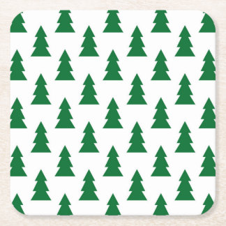 Christmas Tree Design Square Paper Coaster
