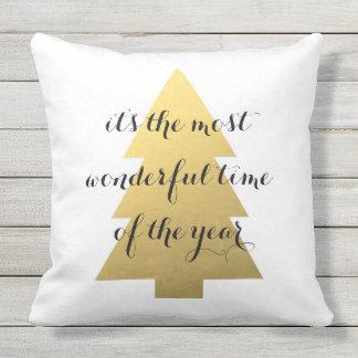 Christmas tree faux gold cushion