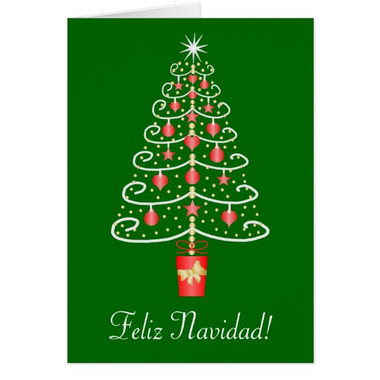 Christmas Tree Feliz Navidad Spanish Christmas Card