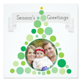 Christmas Tree Frame | Family Portrait Photo Card 13 Cm X 13 Cm Square Invitation Card