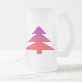 Christmas tree frosted glass beer mug