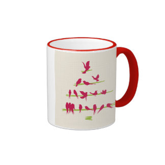 Christmas Tree full of Cheerful Red Birds Coffee Mug