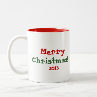 Christmas Tree full of Cheerful Red Birds Two-Tone Mug