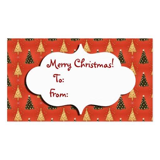 Christmas Tree Gift tag Business Card Templates