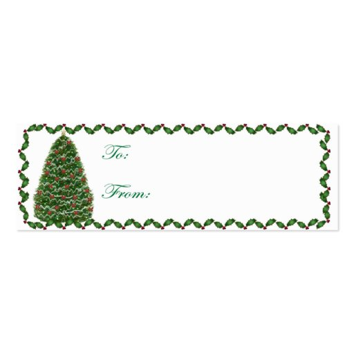 Christmas Tree Gift Tag Card Business Card Template