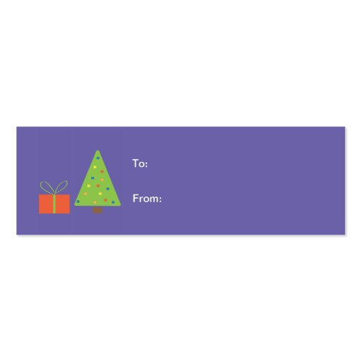 Christmas Tree Gift Tag (purple) Business Card Template