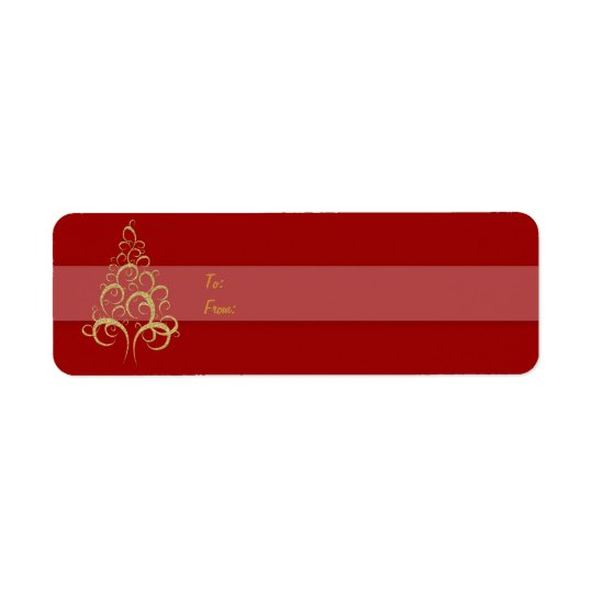 Christmas tree gift tag red gold
