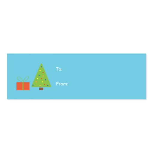 Christmas Tree Gift Tag (turquoise) Business Card Templates