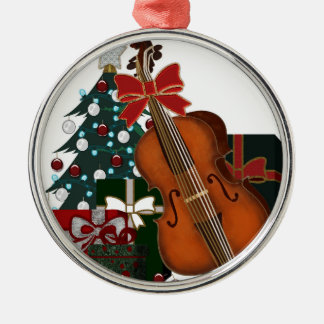 Christmas Tree Gifts and Bass Viol Round Ornament