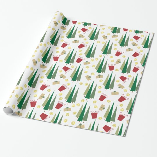 Christmas Tree & Gifts Retro Pattern Wrapping Paper