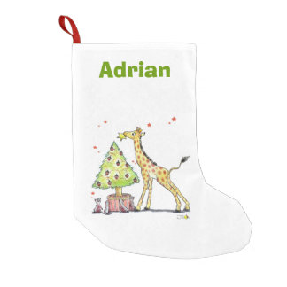 Christmas tree giraffe - add name small christmas stocking