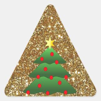 Christmas Tree gold Glitter Triangle Sticker