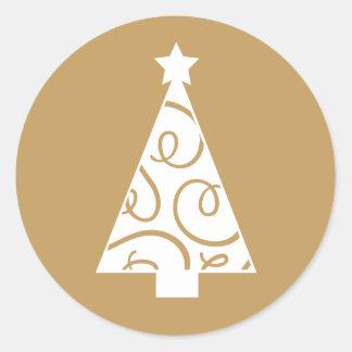 Christmas Tree | Gold Round Sticker