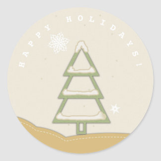 Christmas Tree Green and Gold Round Sticker