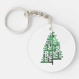 Christmas tree green of shapes mottled Double-Sided round acrylic keychain