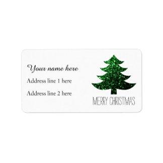 Christmas tree green sparkles address label