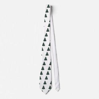 Christmas Tree Green  White OL The MUSEUM Zazzle Tie