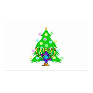 Christmas Tree Hanukkah Menorah Business Card Templates