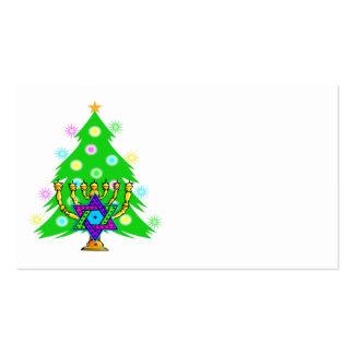 Christmas Tree Hanukkah Menorah Business Cards