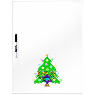 Christmas Tree Hanukkah Menorah Dry Erase Board