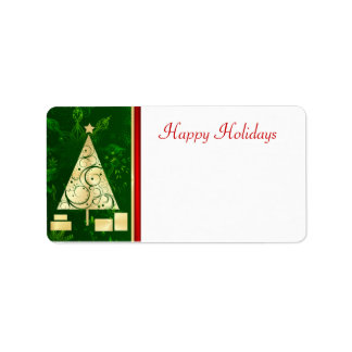 Christmas Tree - Happy Holidays Mailing Labels
