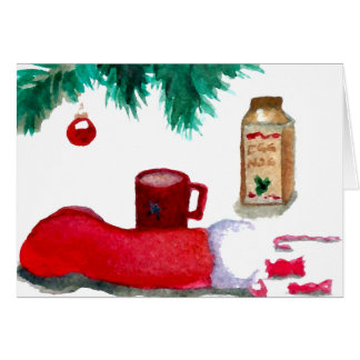 Christmas Tree Holiday Breakfast EggNog Stocking Greeting Card