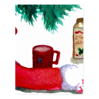 Christmas Tree Holiday Breakfast EggNog Stocking Postcard