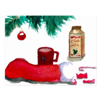 Christmas Tree Holiday Breakfast EggNog Stocking Post Card