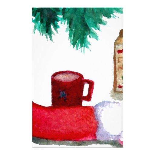 Christmas Tree Holiday Breakfast EggNog Stocking Customized Stationery
