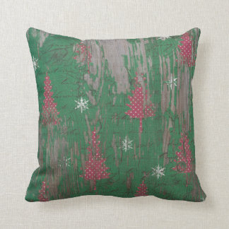 Christmas Tree Holiday Country Rustic Throw Pillow