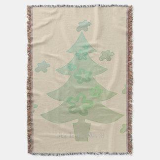 Christmas Tree  Holiday Throw Blanket Beige