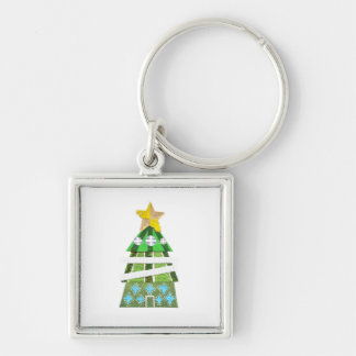 Christmas Tree Hotel Premium Keyring Silver-Colored Square Key Ring