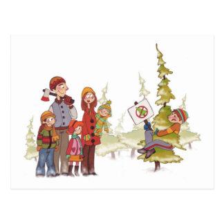 Christmas Tree Hugger Holiday POSTCARD