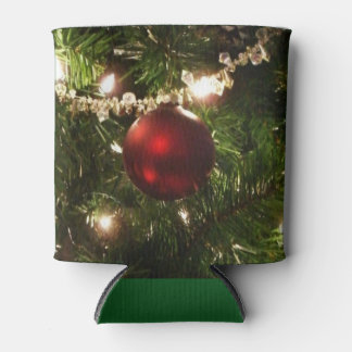 Christmas Tree I Holiday Pretty Green and Red Can Cooler