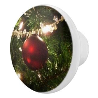 Christmas Tree I Holiday Pretty Green and Red Ceramic Knob