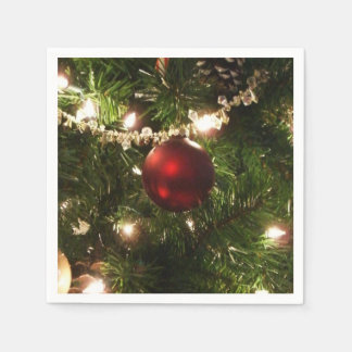 Christmas Tree I Holiday Pretty Green and Red Disposable Serviette