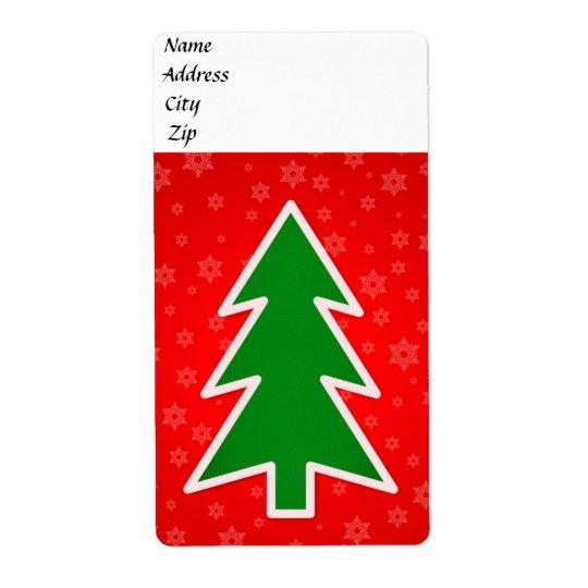 Christmas tree illustration shipping label
