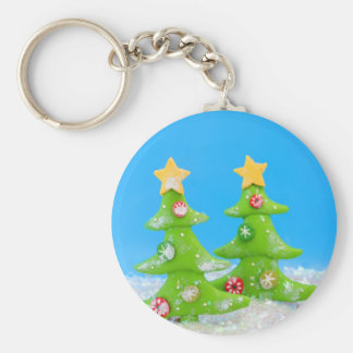 Christmas tree in glitter snow basic round button key ring