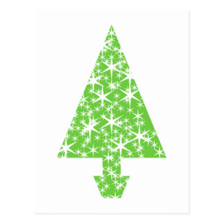 Christmas Tree in Green and White. Postcard