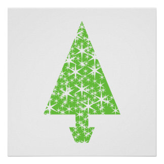 Christmas Tree in Green and White Print