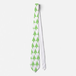 Christmas Tree in Green and White. Tie
