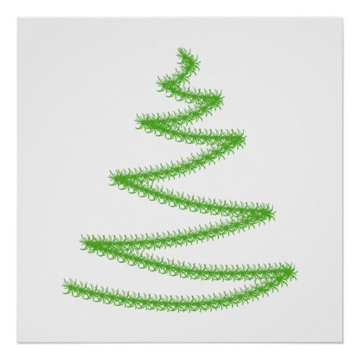 Christmas Tree in Green, Simple and Stylish. Poster