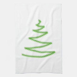 Christmas Tree in Green, Simple and Stylish. Tea Towel
