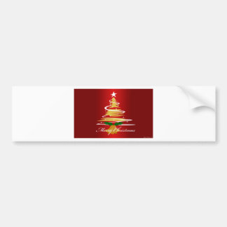 CHRISTMAS TREE IN RED AND GREEN BUMPER STICKERS