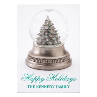 Christmas tree in snow globe 13 cm x 18 cm invitation card
