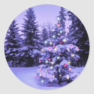 Christmas Tree in the Forest Classic Round Sticker
